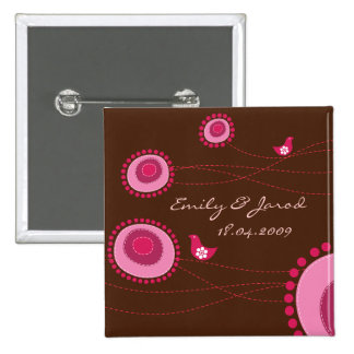 Happy Birds Pink Dots Cute Flowers Wedding Button