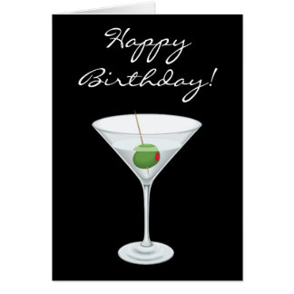 Happy Birhtday Simple Martini Glass with Olive Card