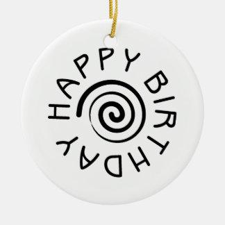 Happy Birthday 02 Round Ceramic Decoration
