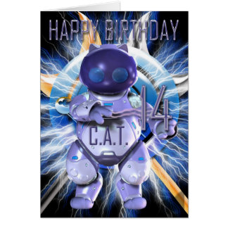 Happy Birthday 14th, Robot Cat, Techno Modern Card