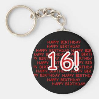 Happy Birthday 16 Basic Round Button Key Ring