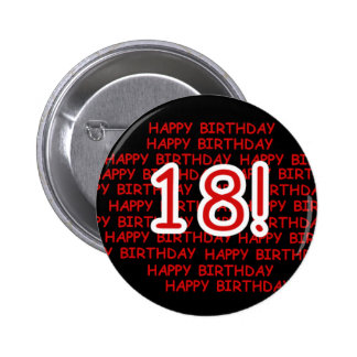 Happy Birthday 18  6 Cm Round Badge