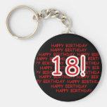 Happy Birthday 18  Basic Round Button Key Ring