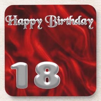 Happy Birthday 18 - red silk Beverage Coasters