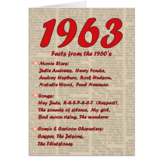 Happy Birthday 1963 Year of birth news 60's 60s Card