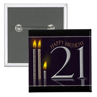 Happy Birthday 21! 15 Cm Square Badge