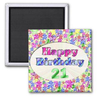 Happy Birthday 21 Square Magnet