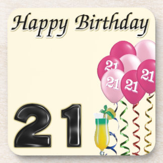 Happy birthday - 21st drink coaster
