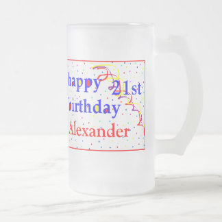 Happy Birthday 21st Personalize Frosted Glass Beer Mug