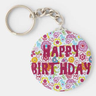 "Happy Birthday 2.25"" Basic Button Keychain"