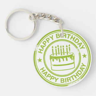 Happy Birthday 2 tone rubber stamp effect -green- Double-Sided Round Acrylic Key Ring