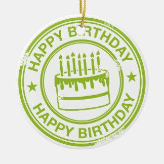 Happy Birthday 2 tone rubber stamp effect -green- Round Ceramic Decoration