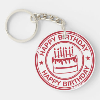Happy Birthday 2 tone rubber stamp effect -red- Double-Sided Round Acrylic Key Ring