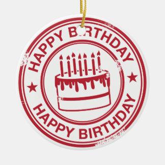 Happy Birthday 2 tone rubber stamp effect -red- Round Ceramic Decoration