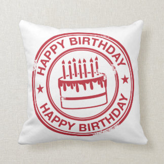 Happy Birthday 2 tone rubber stamp effect -red- Throw Cushion