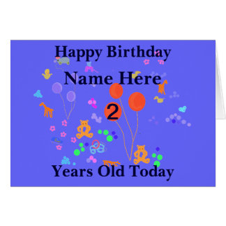 Happy Birthday 2 year old Add name Greeting Card