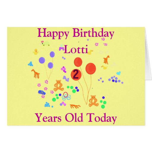 Happy Birthday 2 years old, add name front Card