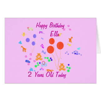 Happy Birthday 2 years old Greeting Card