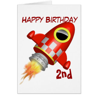Happy Birthday 2nd Rocket Ship Theme Card