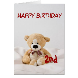 Happy Birthday 2nd Teddy Bear Theme Card