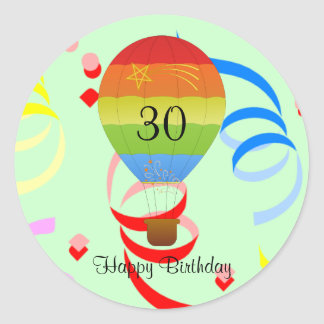 "Happy Birthday ""30"" hot air balloon sticker"