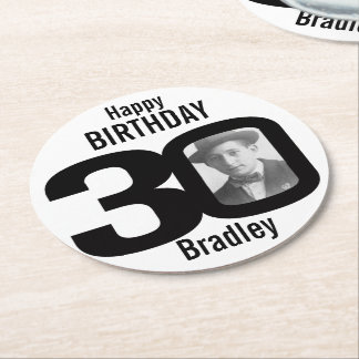 Happy birthday 30 name and photo paper coasters round paper coaster