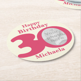 Happy birthday 30 name and photo paper coasters
