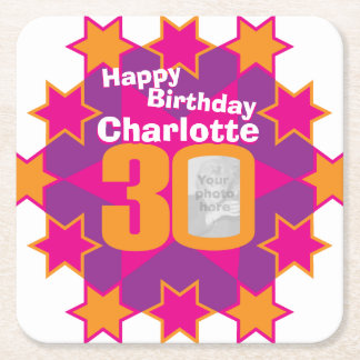 Happy birthday 30th name and photo paper coasters