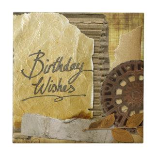 Happy-Birthday #3 Small Square Tile