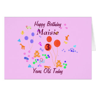 Happy Birthday 3 year old add name/change age Card