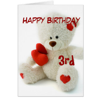 Happy Birthday 3rd Teddy Bear Theme Card
