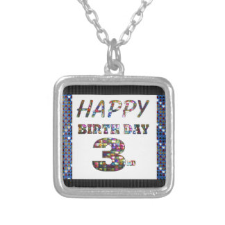 Happy Birthday 3rd Text Square Pendant Necklace