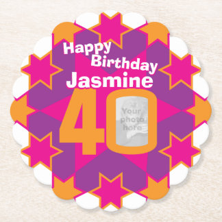 Happy birthday 40th name and photo paper coasters