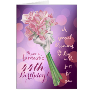 Happy Birthday ! - 43rd pink flowers Greeting card