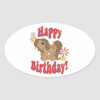Happy Birthday 4 Oval Sticker