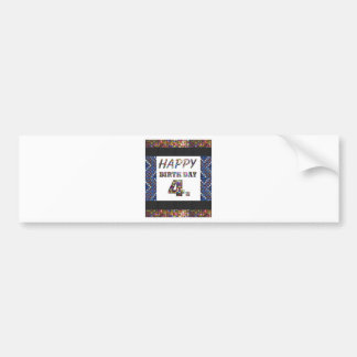Happy Birthday 4th Text Bumper Sticker