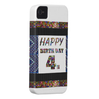 Happy Birthday 4th Text Case-Mate iPhone 4 Cases