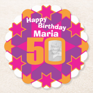 Happy birthday 50th name and photo paper coasters