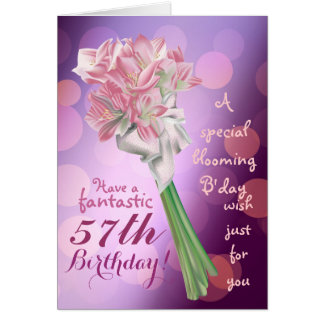 Happy Birthday ! - 57th pink flowers Greeting card