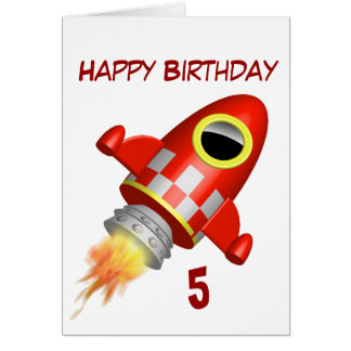 Happy Birthday 5th Little Rocket Theme Greeting Card