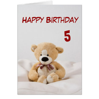 Happy Birthday 5th Teddy Bear Theme Card
