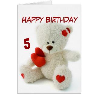 Happy Birthday 5th Teddy Bear Theme Greeting Cards