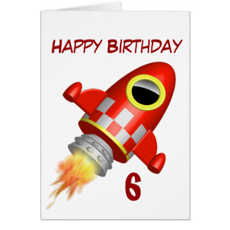Happy Birthday 6th Little Rocket Theme Card
