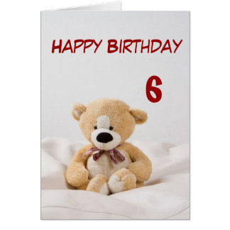 Happy Birthday 6th Teddy Bear Theme Card