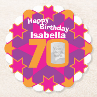 Happy birthday 70th name and photo paper coasters