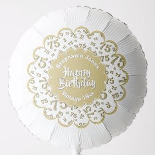 Happy Birthday 75th Gold White Fun Party Pattern Balloon