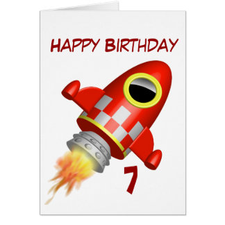 Happy Birthday 7th Little rocket Theme Greeting Card