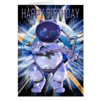 Happy Birthday 7th, Robot Kitty, Robot Cat Card