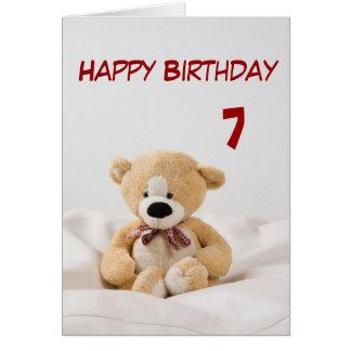 Happy Birthday 7th Teddy Bear Theme Greeting Card