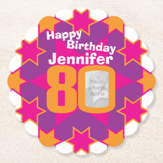 Happy birthday 80th name and photo paper coasters